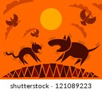 dog and cat  flat style ... | Shutterstock . vector #121089223