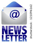 Newsletter concept image of text and email illustration design - stock photo