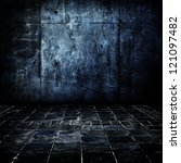 Dark and old concrete floor and wall. - stock photo
