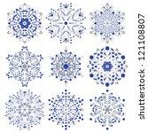 set of snowflakes. global... | Shutterstock .eps vector #121108807