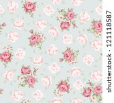 Stock vector floral seamless vintage pattern shabby chic rose background for you scrapbooking 121118587