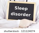 Doctor shows information: sleep disorder - stock photo