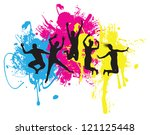 jumping background - stock vector