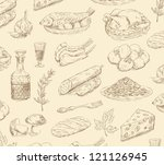 hand drawn food set vector - stock vector