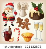 set of festive food and... | Shutterstock .eps vector #121132873