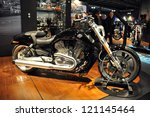 MILAN, ITALY - NOV. 15: Harley Davidson  v-rod muscle at EICMA, 70th International Motorcycle Exhibition November 15, 2012 in Milan, Italy. - stock photo