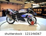 MILAN, ITALY - NOV. 15: New Suzuki gsx-r 1000 at EICMA, 70th International Motorcycle Exhibition November 15, 2012 in Milan, Italy. - stock photo