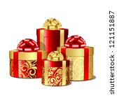red and gold gift boxes. vector ... | Shutterstock .eps vector #121151887