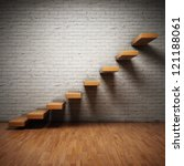 Abstract stairs on brick wall in interior - stock photo