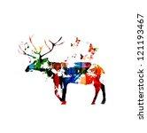 deer silhouette vector... | Shutterstock .eps vector #121193467