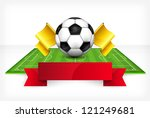 Football (soccer) ball and green field with ribbon on white background, vector illustration - stock vector