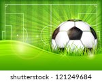 Football (soccer) ball on green field background, vector illustration - stock vector