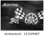 two crossed checkered flags and ... | Shutterstock .eps vector #121249687