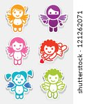 Colored stickers cupid-set icons, collection symbols - stock vector