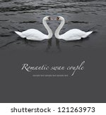 Romantic Swan Couple In Black...