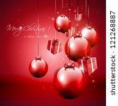 modern red christmas background ... | Shutterstock .eps vector #121268887