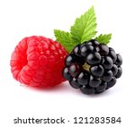 Raspberry with blueberry - stock photo