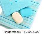 towels and soaps on white... | Shutterstock . vector #121286623