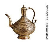 The vintage Indian teapot isolated on a white background - stock photo