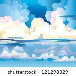 Group of cumulus clouds on a blue sky background - stock vector