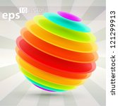 Colorful abstract sphere composition made of rainbow colored circle glossy layers, eps10 vector - stock vector