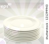 Pile stack of clean white ceramic empty copyspace food dishes, eps10 vector - stock vector