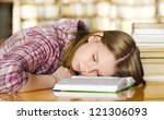 female student sleeping in a...   Shutterstock . vector #121306093
