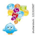 blue bird over white ... | Shutterstock .eps vector #121310587