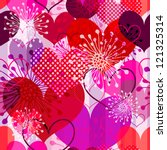Seamless valentine striped pattern with colorful transparent hearts and flowers (vector EPS 10) - stock vector