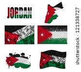 jordan flag and map in... | Shutterstock . vector #121338727