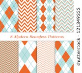 8 chevron and argyle patterns... | Shutterstock .eps vector #121349323