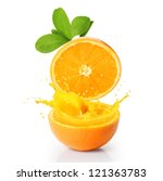 orange juice and slices on wood | Shutterstock . vector #121363783