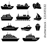 Ship and boat icon set - stock vector