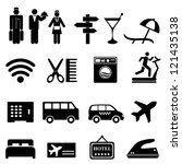 Hotel symbols icon set in black - stock vector