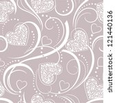 seamless grey background with hearts - stock vector