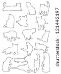 cats silhouette line | Shutterstock . vector #121442197