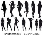 silhouettes beautiful girl ... | Shutterstock . vector #121442203