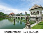 Architectural wonders at the Karangasem water temple in Bali, Indonesia - stock photo