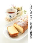 home bakery, gourmet dessert Pound cake and English tea - stock photo