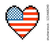 Pixel USA Love Heart - stock vector