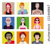 a set of nine characters. nine... | Shutterstock .eps vector #121468867