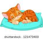 Stock vector cute kitten sleeping on the blue pillow 121473403