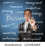 business man writing business solution concept - stock photo