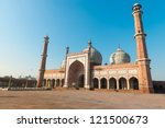 Jama Masjid Mosque, Old Dehli, India under blue sky - stock photo