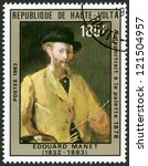 Small photo of UPPER VOLTA - CIRCA 1983: A stamp printed in Upper Volta shows Self-portrait at the palette, by Manet, 1878, circa 1983