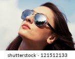 attractive young greek brunette ... | Shutterstock . vector #121512133