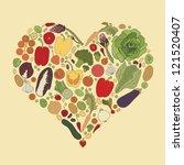 love for healthy food  vector ... | Shutterstock .eps vector #121520407