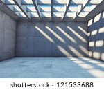 Large empty room with concrete walls - stock photo