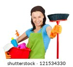 young woman with cleaning products - stock photo