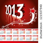 Calendar 2013 vector format. European style. Monday week start. - stock vector